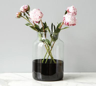 Color Block Glass Mason Jar Vase, Flower Vase