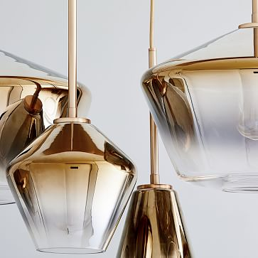 Sculptural Glass 7-Light Geo Chandelier, Small, Silver Ombre Shade, Polished Nickel Canopy
