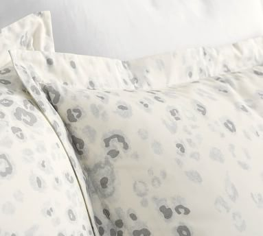 White Snow Leopard Organic Percale Duvet Cover, Full/Queen