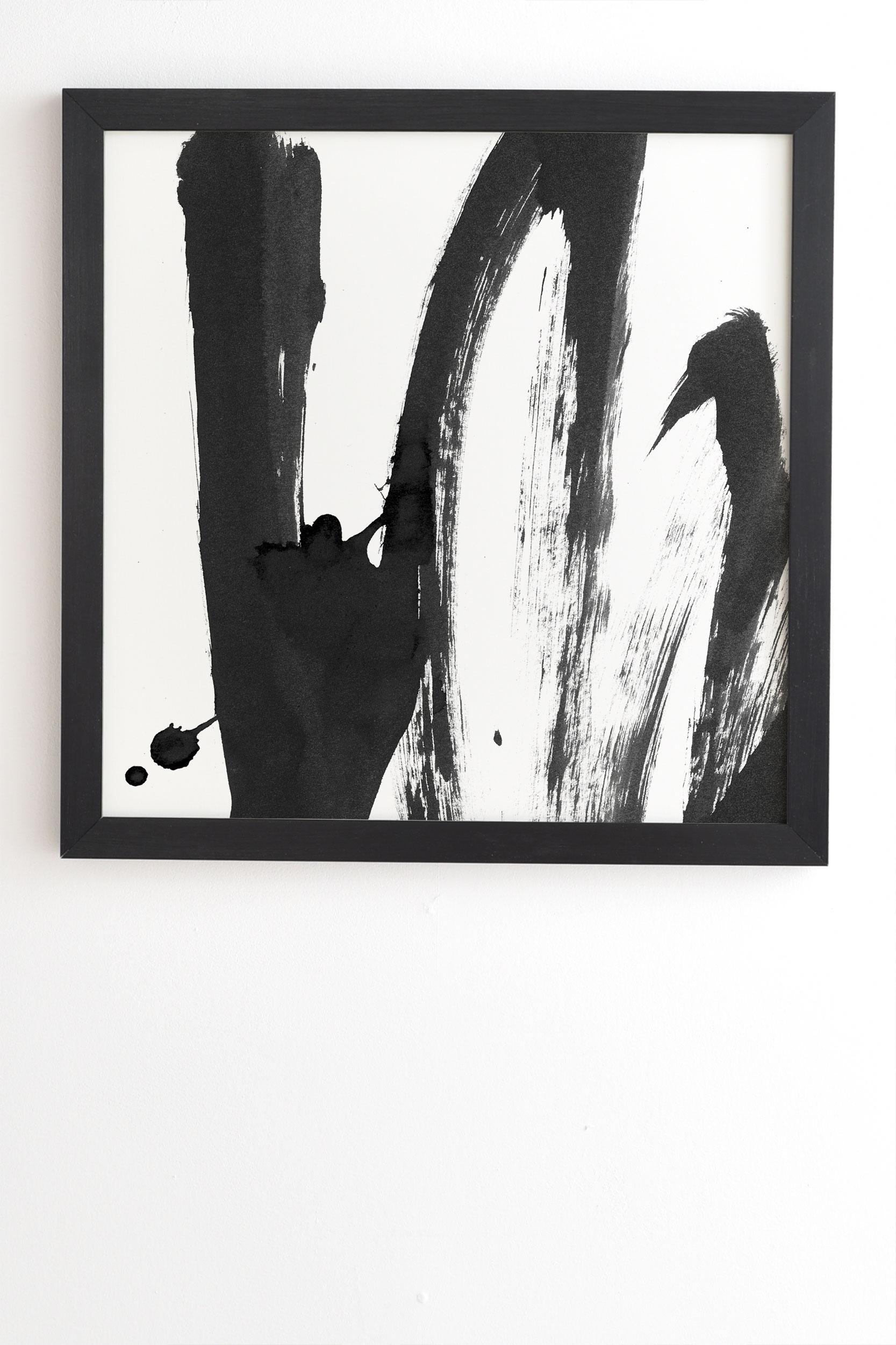 "B And W Strokes 4 by Iris Lehnhardt - Framed Wall Art Basic Black 11"" x 13"""