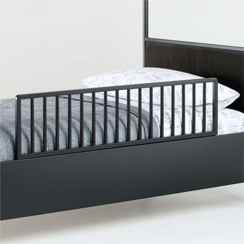 Canyon Arched Full Black Canopy Bed with Upholstered Headboard