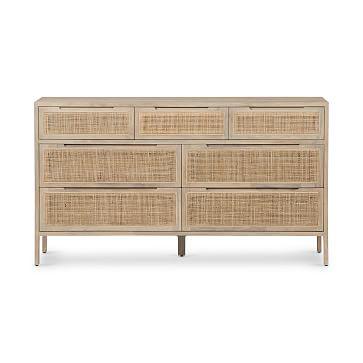 Modern Rattan 7-Drawer Dresser _ Black