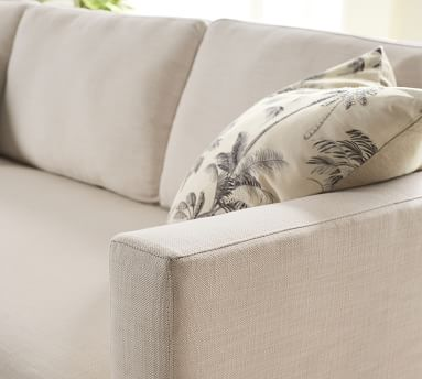 """Jake Upholstered Apartment Sofa 63"""" with Antique Bronze Legs, Polyester Wrapped Cushions, Sunbrella(R) Performance Sahara Weave Ivory"""
