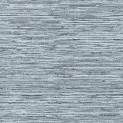 RoomMates 28.18 sq ft Grasscloth Peel and Stick Wallpaper, blue/ grey