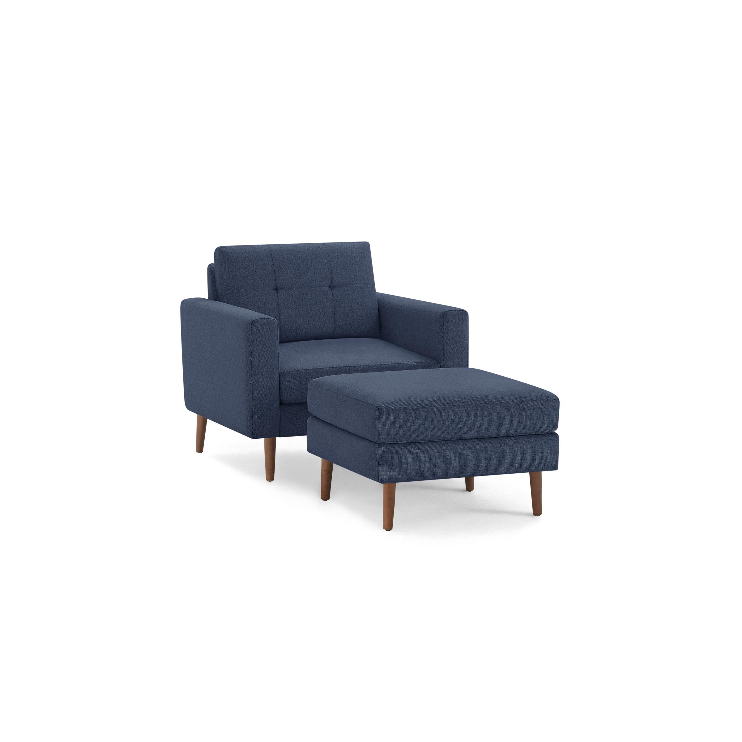 The Block Nomad Armchair with Ottoman in Navy Blue, Walnut Legs