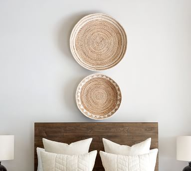 Sunny Handwoven Basket Wall Art, Natural/White - Set of 3