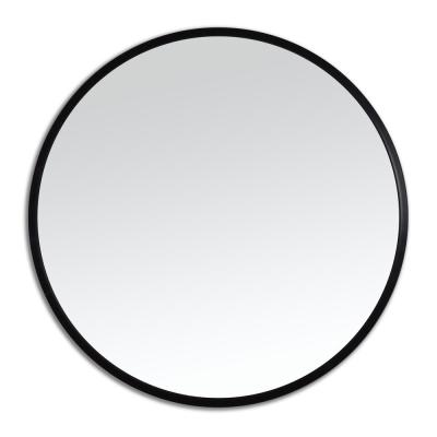 Better Bevel 36 in. x 36 in. Rubber Framed Round Mirror in Black