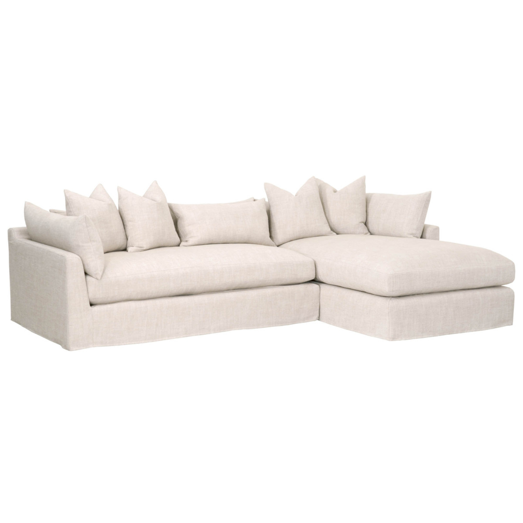 Nathan Modern Classic Beige Slipcovered Sectional Sofa - Right Arm Facing