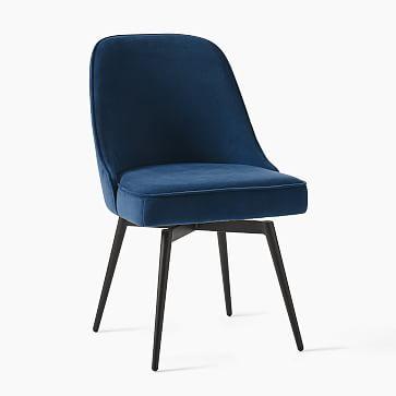 Mid-Century Office Chair, Performance Velvet, Dove Gray, Oil Rubbed Bronze