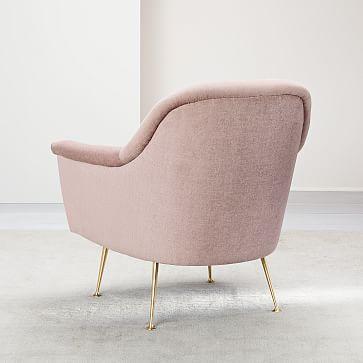 Phoebe Midcentury Chair, Performance Velvet, Corn Flower, Brass