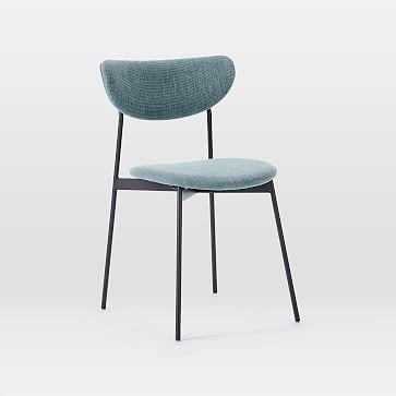 Modern Petal Fully Upholstered Dining Chair, Basket Slub, Feather Gray, Light Bronze