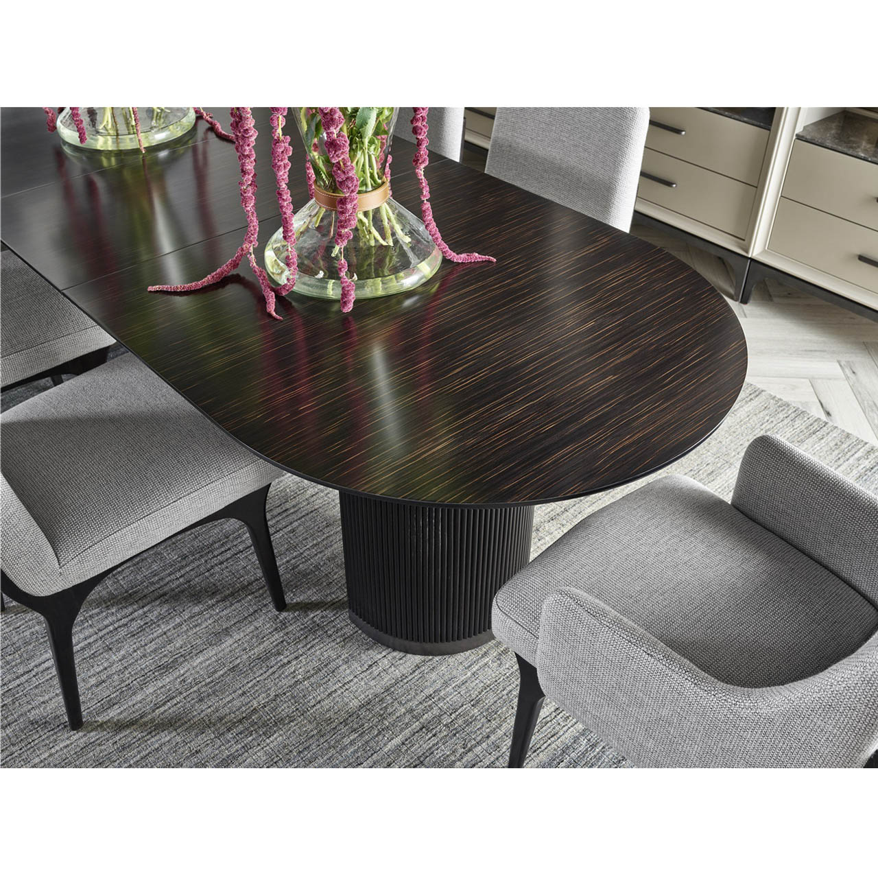 Sage Modern Classic Black Wood Dining Table - Extendable