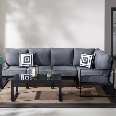 Hampton Bay Barclay 6-Piece Black Steel Outdoor Patio Sectional Sofa Set with Gray Cushions and Coffee Table