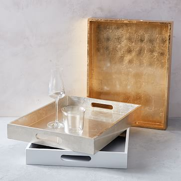 """Lacquer Wood Tray, 14""""x18"""", White"""