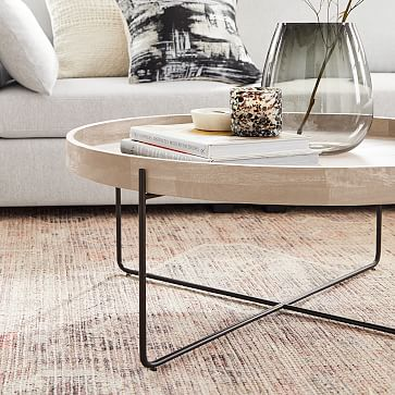 Willow Round Coffee Table Cerused White and Antique Bronze