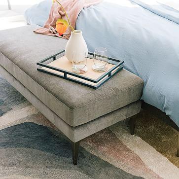 Andes Bench, Astor Velvet, Evergreen, Dark Pewter