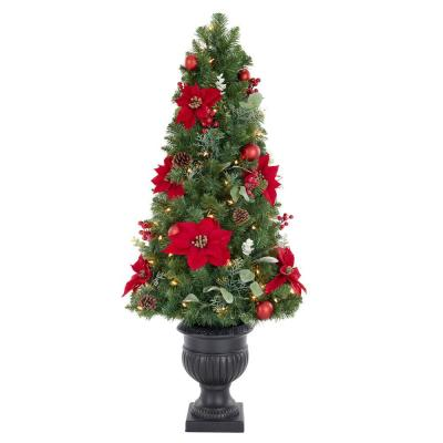 Home Accents Holiday 4.5 ft Berry Bliss Mixed Pine Potted Pre-Lit Artificial Christmas Tree