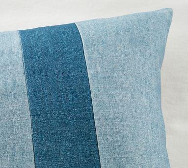 """Izal Pieced Lumbar Pillow Cover, 20 x 36"""", Blue Multi"""