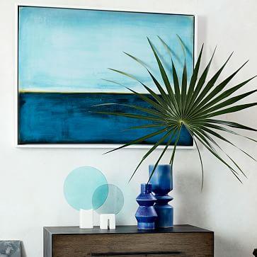 "Framed Print Peacock on Aqua, 32"" X 42"""