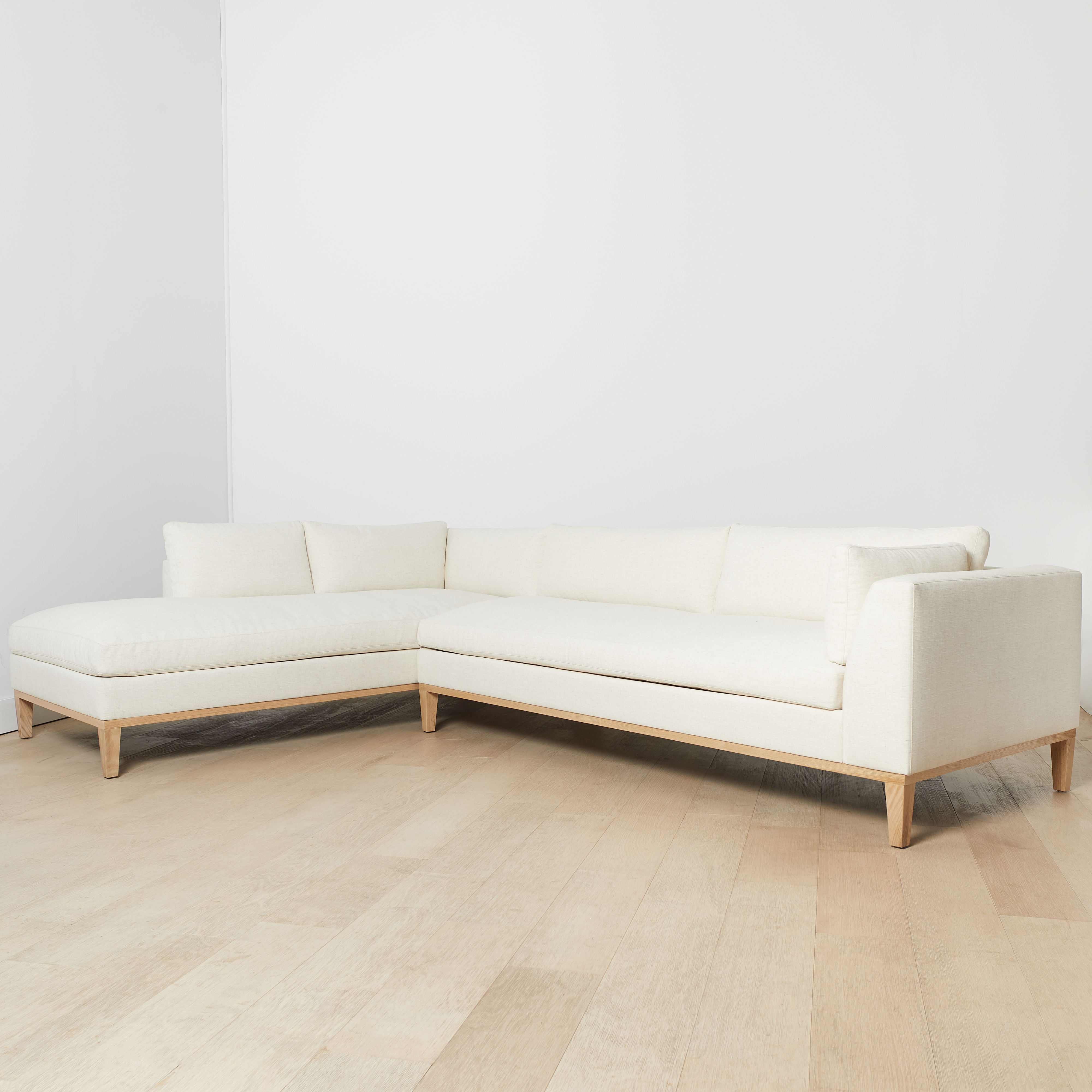 "Charleston Left-Facing Sectional, Ivory 103""L"