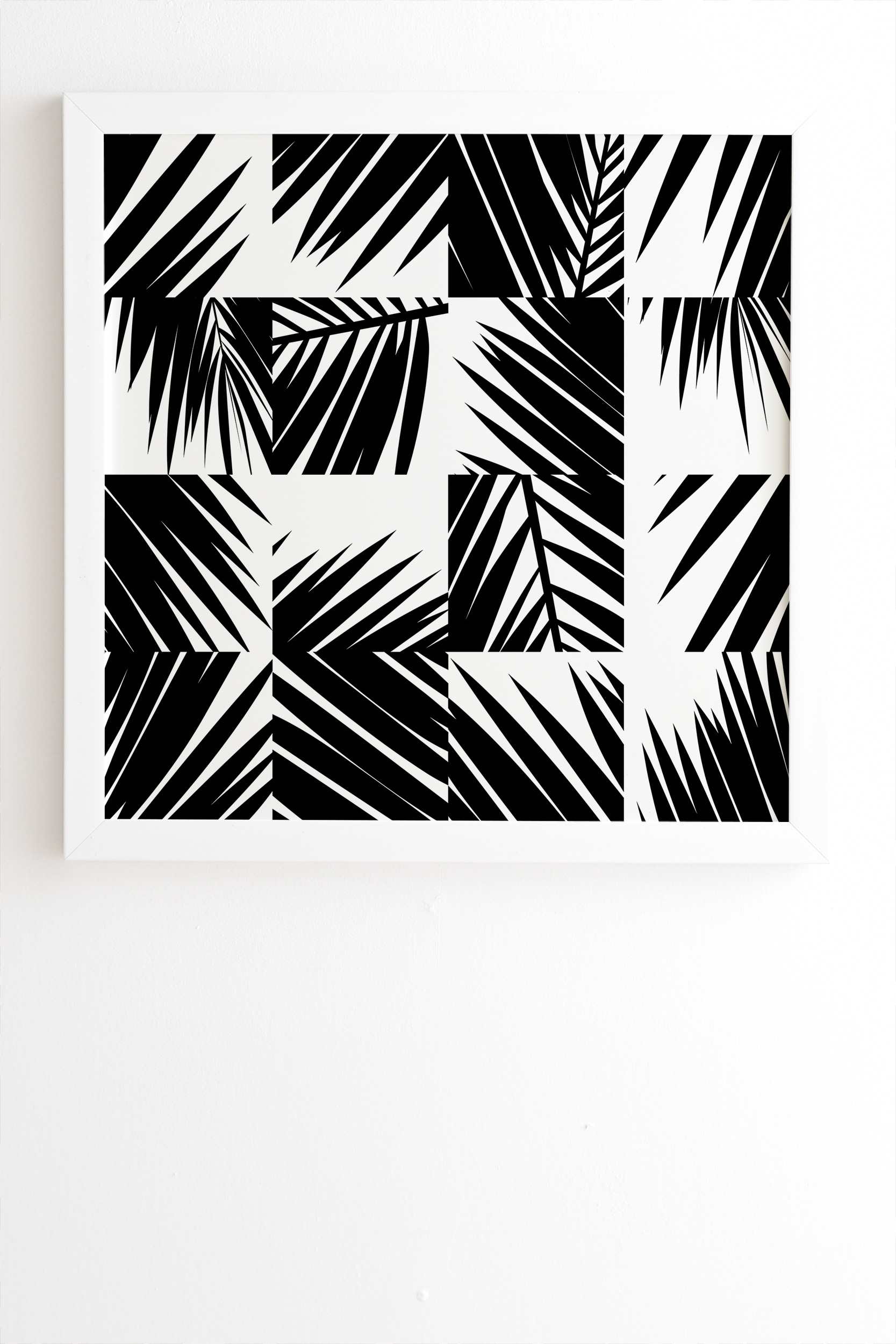 "Palm Leaf Pattern 03 Black by The Old Art Studio - Framed Wall Art Basic White 30"" x 30"""