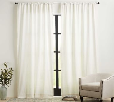 "Emery Linen Poletop Curtain, 50 x 96"", Midnight Denim"