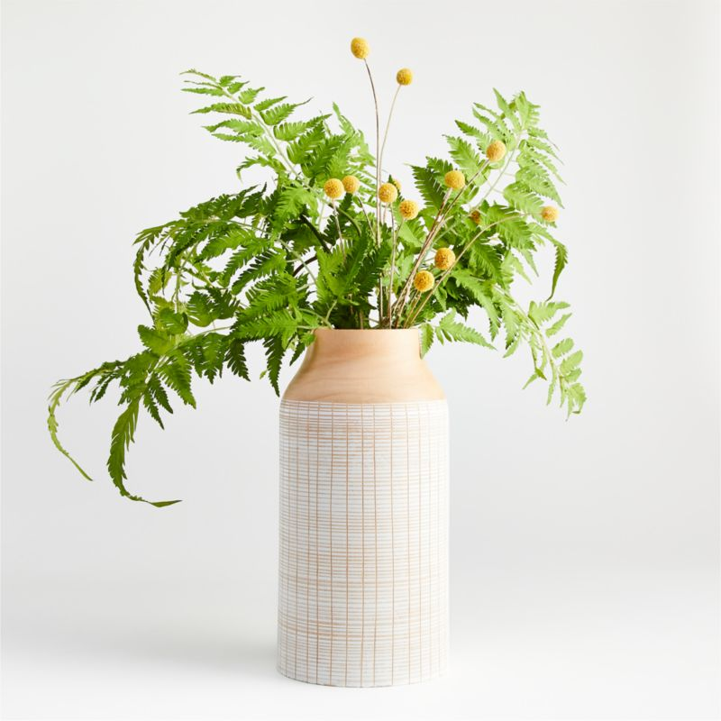"Soto White Wood Vase 12"""