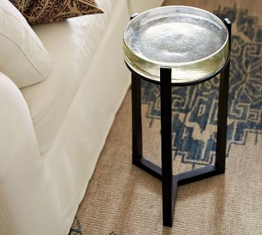 """Cori 10"""" Round Accent Table, Recycled Clear Glass Top/Brass Base"""
