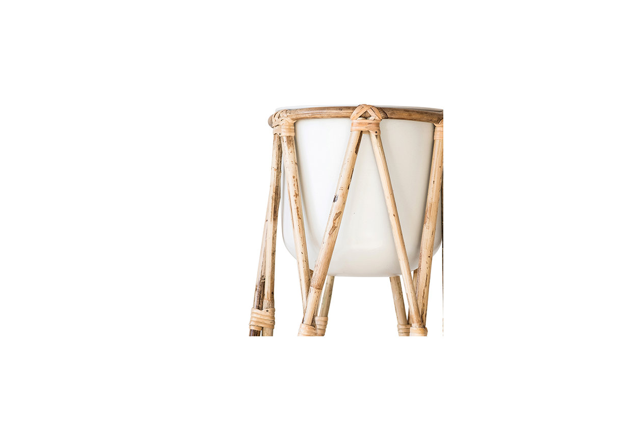 Metal Planter with Raised Bamboo Stand, Off-White