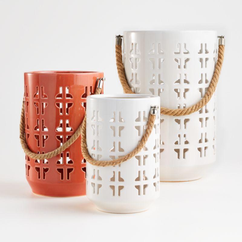 Calas Small White Ceramic Lantern