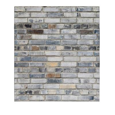 Dundee Deco Falkirk Jura 3/10 in. x 28 in. x 30 in. Off-White, Aegean Blue Faux Bricks PE Foam Peel-and-Stick Wall Panel, Off-White/Aegean Blue