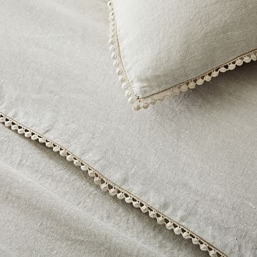 European Linen Pom Pom Duvet, Full/Queen Duvet Cover, White