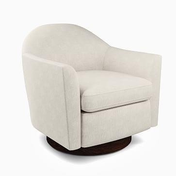 Haven Swivel Chair, Poly, Yarn Dyed Linen Weave, Stone White, Dark Walnut