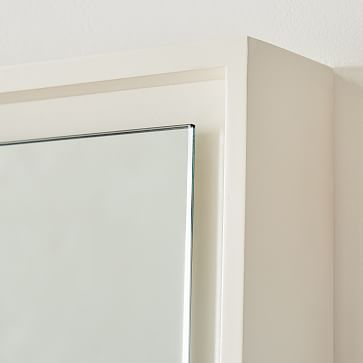 Floating Wood Floor Mirror, White Lacquer