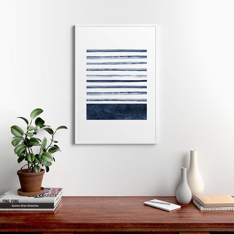 """Stripes Watercolor Pattern by Kris Kivu, Modern Framed Art Print, White, 24"""" x 36"""""""