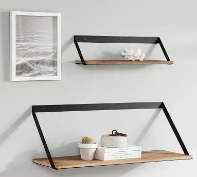 "Trenton Shelf, Aged Wood & Iron, 24""W x 12"" D"