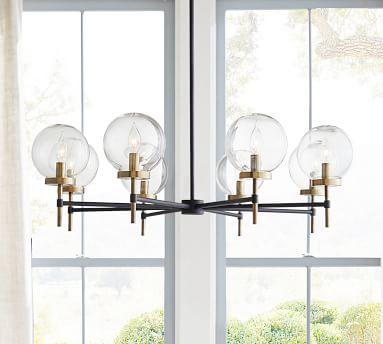 Camryn Round Glass Chandelier, Bronze & Antique Brass