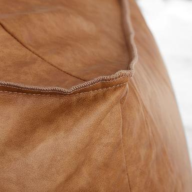 Vegan Leather Small Modern Lounger, Caramel