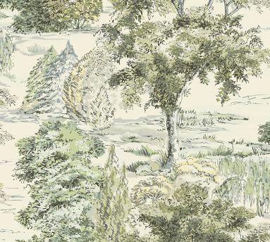 Scenic Tree Toile Wallpaper Set Of 2, 2' X 4' Panels