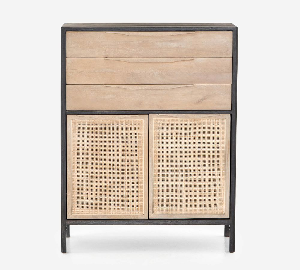 Dolores Cane 20 Drawer Tall Dresser, Black
