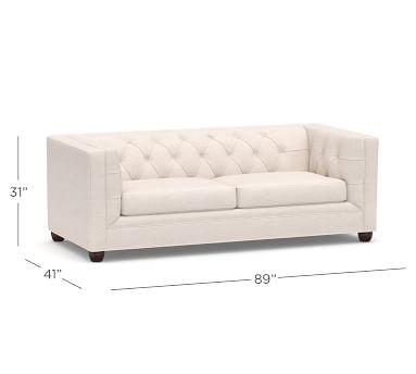 Chesterfield Square Arm Upholstered Sleeper Sofa, Memory Foam Cushions, Park Weave Oatmeal