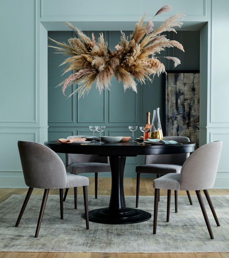 "Aniston Black 45"" Round Extension Dining Table"