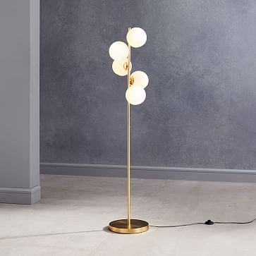 Staggered Glass Floor Lamp, 5-Light, Milk Glass, Antique Brass