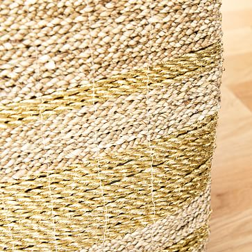Two Tone Metallic Woven Storage Basket, Natural & Gold, Seagrass