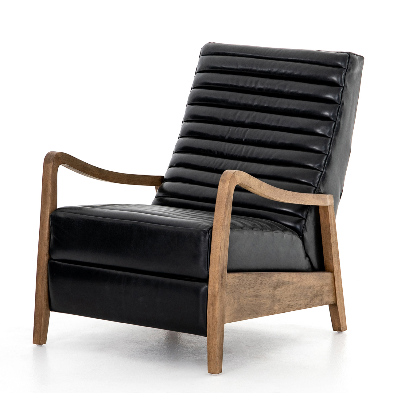 Amani Modern Classic Black Leather Channel Tufted Recliner Arm Chair