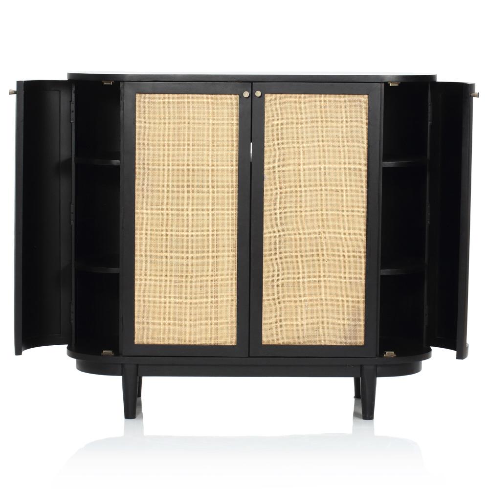 Daphne Mid Century Charcoal Acacia Wood Woven Cane Media Cabinet