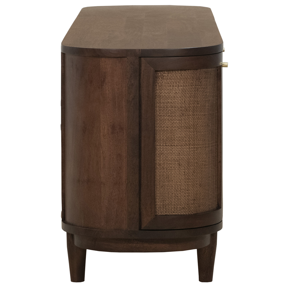 "Daphne Mid Century Dark Acacia Wood Woven Cane 4 Door Media Cabinet - 84"""
