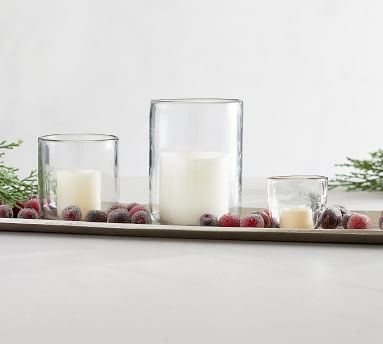 """Modern Glass Votive Candle Holder, Clear, Small, 3.75""""H"""