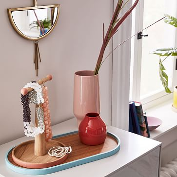 Color Pop Vanity Collection, Pill Shaped Trays, Coral + Ash Wood, Small