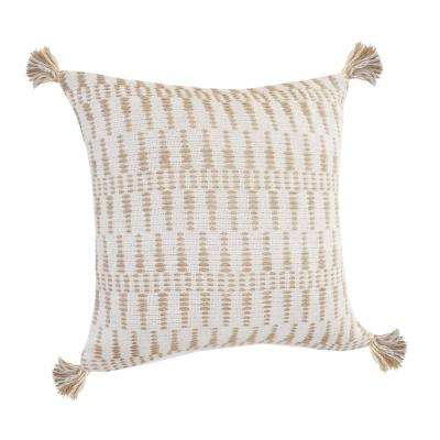 LR Home Natural Ivory / Beige Geometric Tasseled Durable Poly-fill 20 in. x 20 in. Throw Pillow